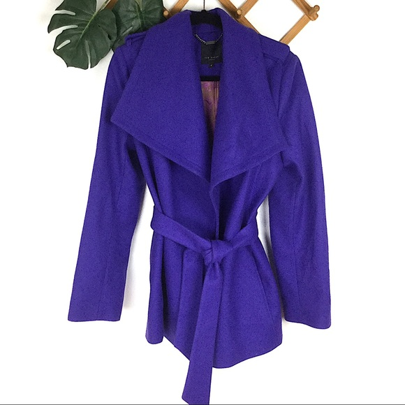 Ted Baker London Jackets & Blazers - Ted Baker | Purple Wool Wrap Coat Jacket 4 New